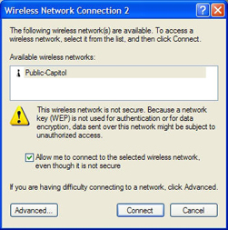 Wireless network connection selection window